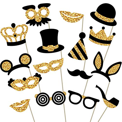 Gold Photo Booth Props - Fully Assembled, No DIY Required - Mix of Hats, Lips, Mustaches, Crowns and More (16 pcs) - Durable and Vibrant - Perfect for Birthday Parties, Weddings and More -
