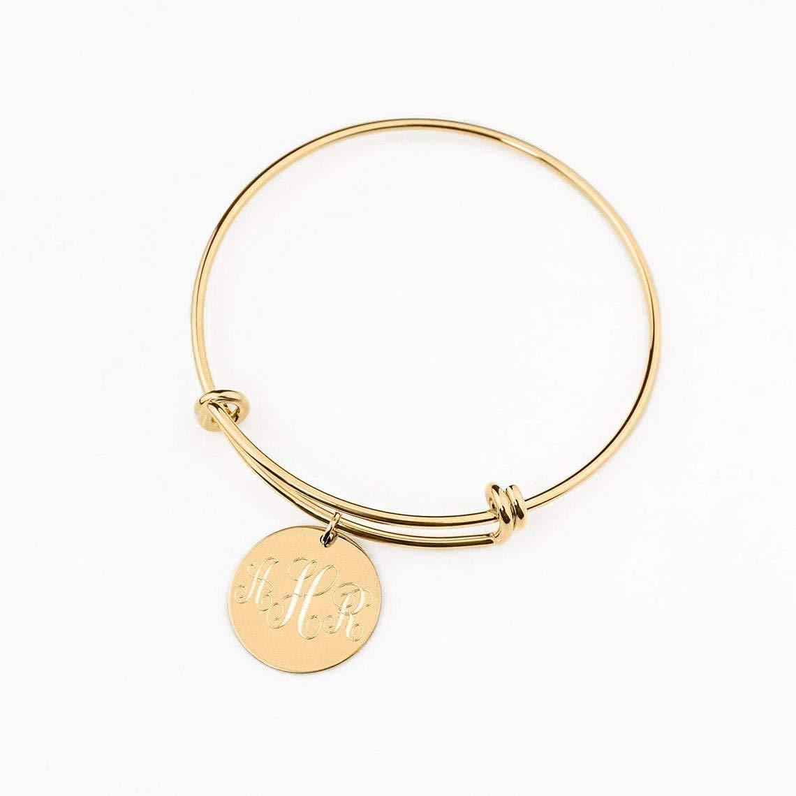 Gold initial bracelet bridesmaid gift bridesmaid bracelet letter bangle disc bracelet letter bracelet personalized gold Initial bangle