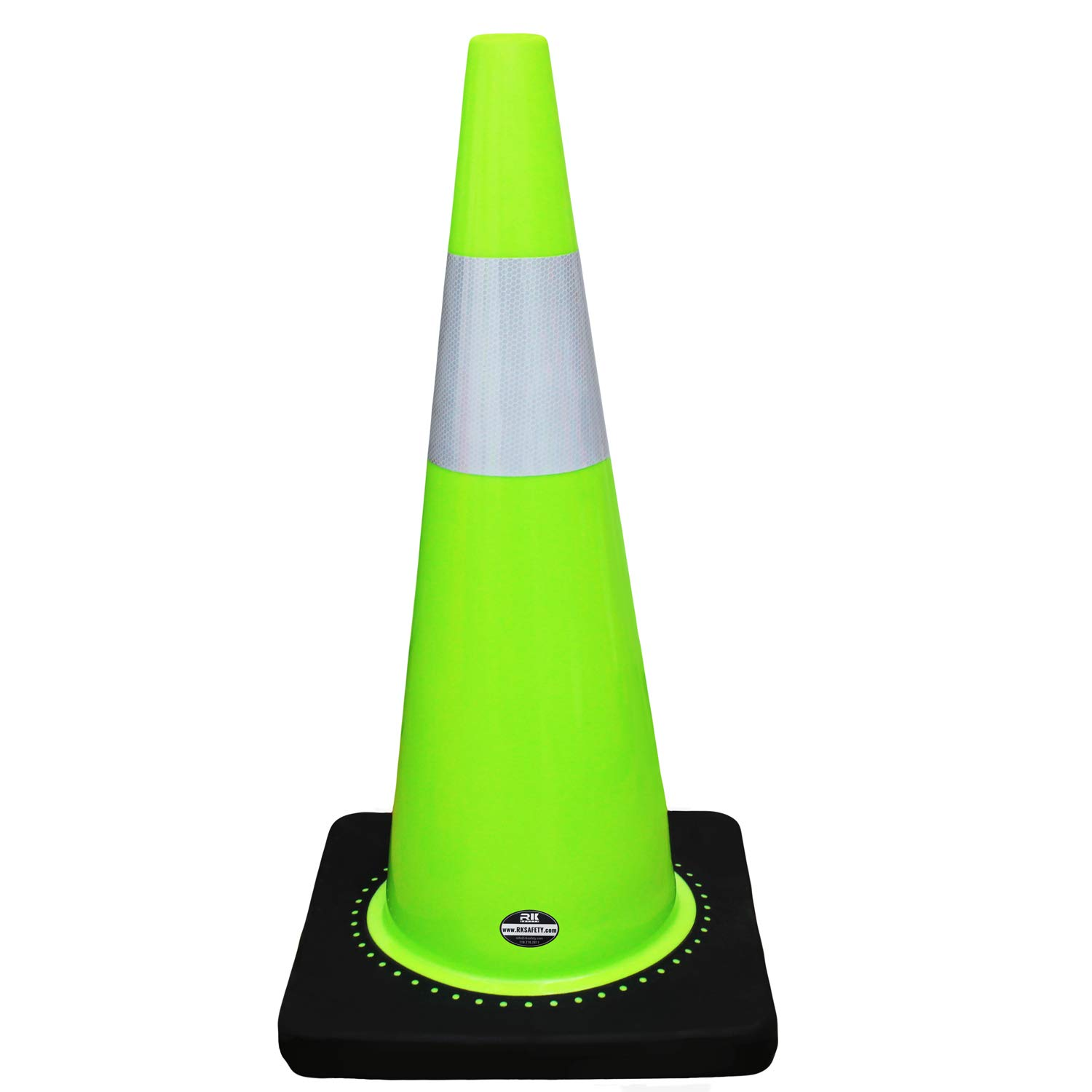 RK Safety 28'' RK Lime Safety Traffic PVC Cones with 6'' Reflective Collar and Black base (16 Cones, Lime)