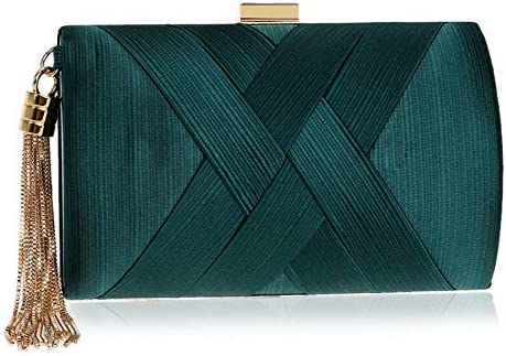 ハンドバッグ - フリンジシルクドレス宴会のイブニングバッグクラッチイブニングバッグ、バッグカバータイプ、17.5センチメートル* 7センチメートルの*の11センチメートル よくできた (Color : Green)