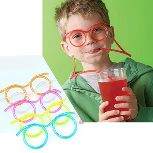 Creative Fun Eyeglasses Straw,Decdeal Party Drinking Straw Eye Glasses,for Kids Birthday Parties/Bar/Celebration/Christmas Party - 1PC/5PCS/10PCS,Color Randomly ()