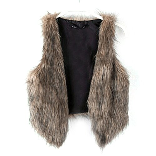 Dikoaina Fashion Women Faux Fur Waistcoat Short Vest Jacket Coat Sleeveless Outwear (S)