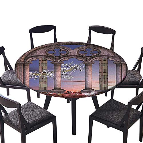 (Luxury Round Table Cloth for Home use Ancient Colonnade in Secret Garden with Flowers at Sunset Enchanted Forest Blue for Buffet Table, Holiday Dinner 31.5