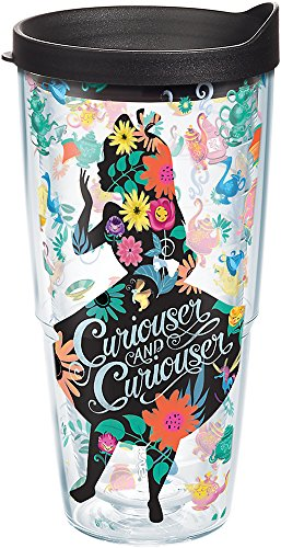 Tervis 1269219 Disney - Alice In Wonderland Curiouser Insulated Tumbler with Wrap and Black Lid, 24oz, Clear -