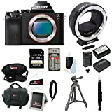 Sony Alpha a7S ILCE-7S/B ILCE-7S ILCE-7 Compact Full Frame Mirrorless Camera with Metabones Canon EF Lens to Sony Alpha Smart Adapter, Mark III + Sony 64GB SD Card + Two Additional NP-FW50 Wasabi Power Batteries with Charger + Sony Tripod + Deluxe Accessory Bundle
