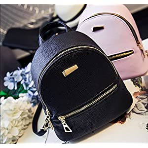 Qualitrusty Petite Leather Backpack - Teens, Women, Children - Lightweight, Easy to Use, and Portable - Chic and Cute (Chic Black)