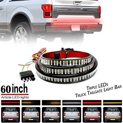 Ricoy 60inch Triple-Row 6-Function Amber Sequential Turn Signal LED Truck Tailgate Light Bar Strip, Super Bright LED- Red/White Reverse Stop Turn Signal Running for Pickups, SUV, RV, Trailer