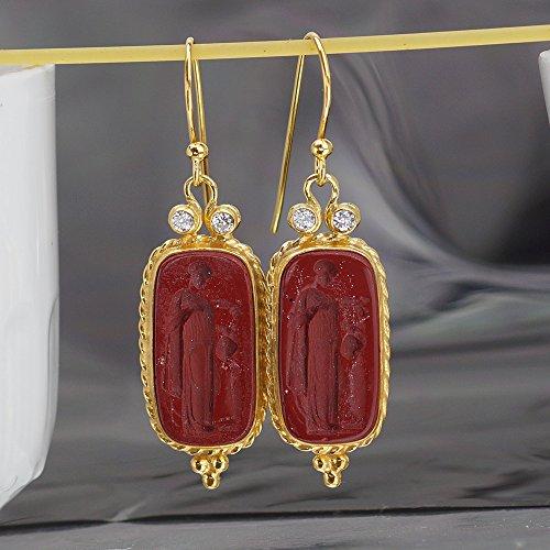 (ANCIENT ART HANDMADE 925k SILVER INTAGLIO EARRINGS 24K GOLD VERMEIL By OMER)