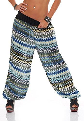 Beaucoup 7197 Bouffant S1482 Malito Couleurs Aladdin Femme De Motifs Noir Et Pantalon WUWqP4nxwa