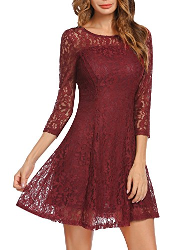 Beyove Women's 3/4 Sleeve Lace Dresses for Special Occasions WR M