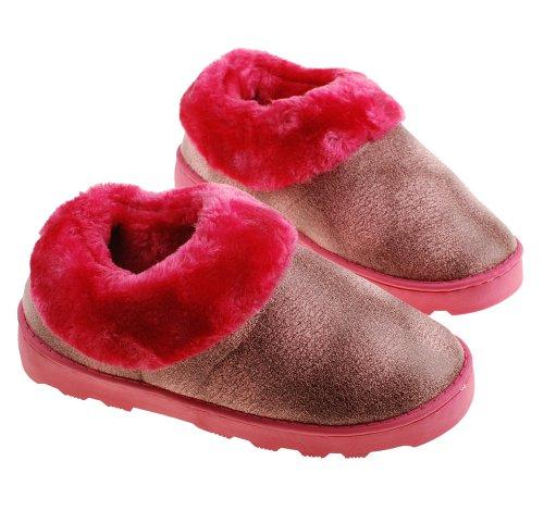 Colorfulworldstore Warme Wildleder-Hausschuhe, Winterhausschuhe für Damen und Herren mit weichem Plüsch und Golddruck Damen rosa