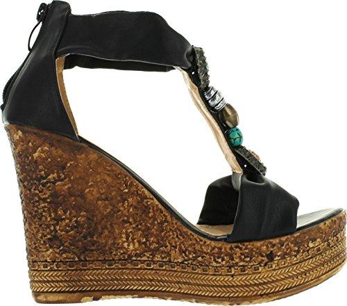 Refresh Grita-05 Womens Beaded Platform T-Strap Cork Wedge Heel Sandal,Black,8.5