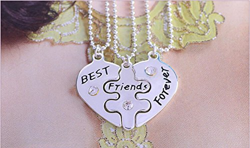 Popular Jewelry for women TX1307 2015 New Style Broken Heart 3 Parts Pendant Best Friend Forever Necklace For Women Jewelry !!