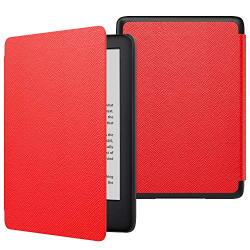 MoKo Case Fits All-New Kindle 10th Generation 2019 Release, Thinnest Protective Shell Cover with Auto Wake/Sleep Function - Red
