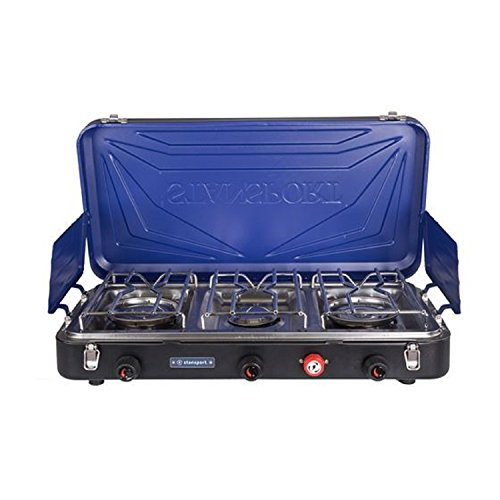 Stansport Outfitter Series 3-Burner Propane Stove, Blue/Silver/Black For Sale