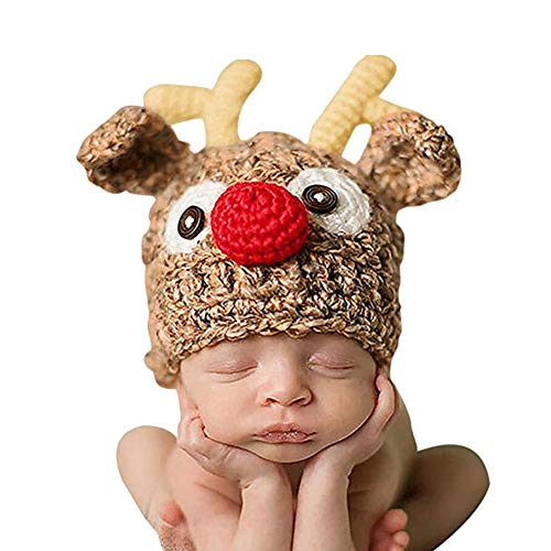 Wowstar Baby Photo Prop Outfit Christmas Santa's Reindeer Crochet Toddler Baby Hat Beanie Photo Prop