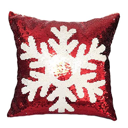 Seaintheson Christmas Throw Pillow Cover, Reversible Flip Sequins Pillow Case Christmas Reindeer Snowflakes Print Sofa Car Cushion Cover Home Decor 18x18 ()