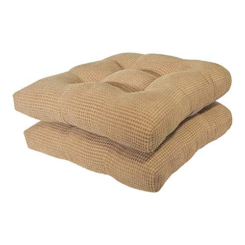 Arlee - Tyler Chair Pad Seat Cushion, Memory Foam, Non-Skid Backing, Durable Fabric, Superior Comfort and Softness, Reduces Pressure and Contours to Body, Washable, 16 x 16 Inches (Tan, Set of 2) ()