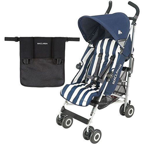 Maclaren Quest Stroller With Organizer in Black - Heritage Butcher Stripe