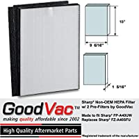 Sharp Non-OEM HEPA FZ-A40SFU FP-A40UW Air Purifier Filter and 2 Pre-Filters by GoodVac