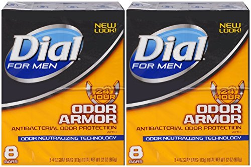 Dial for Men Odor Armor Antibacterial Soap, 4 Ounce, 8 Count (Pack of 2) 16 Bars Total
