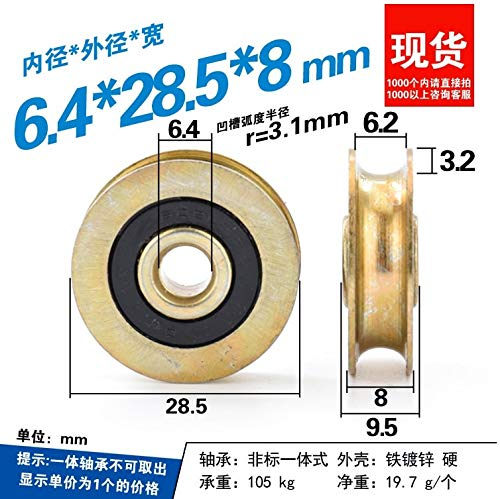 Fevas Metal Groove Wheel U Groove Type 6mm Diameter Steel Wire deep Track Wheel Steel Wheel Galvanized Rust Proof 6.428.5mm
