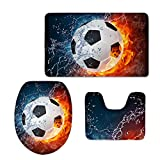 CHAQLIN Cool Fire Water Soccer Printing Modern Home Bathroom Rug Set Soft Flannel Sport Style