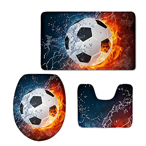 Modern Style Ball Set (CHAQLIN Cool Fire Water Soccer Printing Modern Home Bathroom Rug Set Soft Flannel Sport Style)