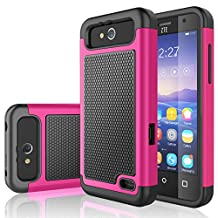 ZTE Maven Case, ZTE Overture 2 Case, Tekcoo® [Tmajor Series] [Rose Pink] Shock Absorbing Hybrid Rubber Plastic Defender Rugged Slim Hard Case Cover For ZTE Maven / Overture 2 / Speed / Fanfare