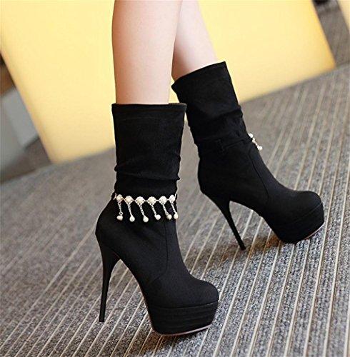 Bomba de de Tobillo Zapatos HETAO la Manera la Elegante Personalidad Martin de Tacones de Zapatos Plataforma Las la Black de Temperamento de los abotona Mujeres del 5wUUqzf