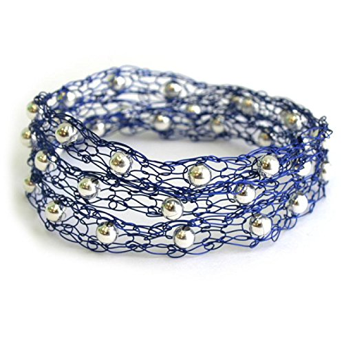 Wire Bracelet Knitted (Isabella Bracelet - knitting with wire kit with video course for beginners (Blue))