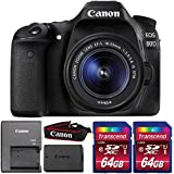 Canon EOS 80D 24.2MP DSLR Camera with 18-55mm IS STM Lens and Two 64GB Memory Cards