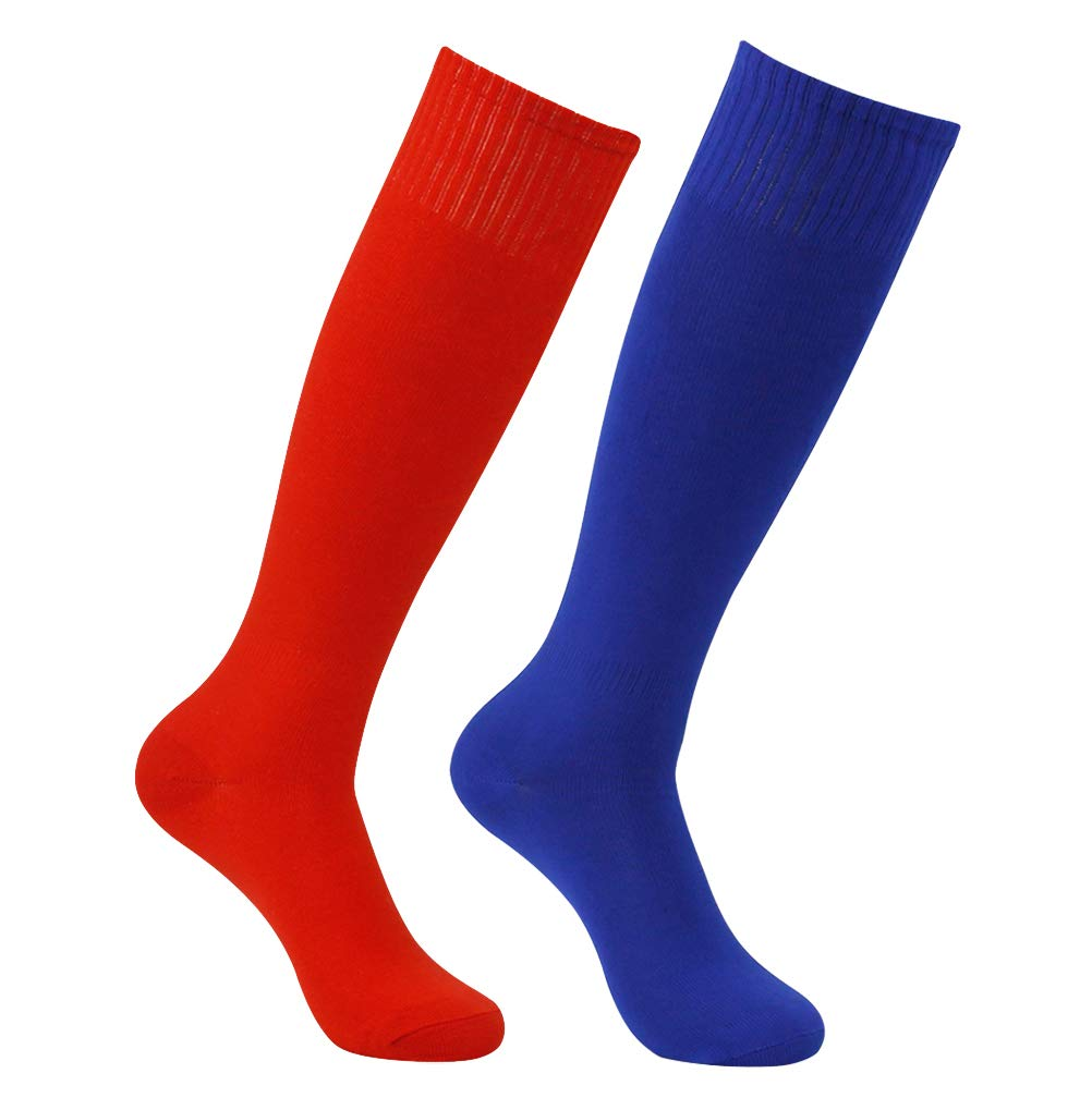 Feelingway Unisex Knee High Athletic Soccer Socks 2 Pairs Blue and Red by Atrest