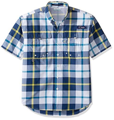 Columbia Sportswear Men's Super Bahama Short Sleeve Shirt, Carbon/Multi Plaid, Large