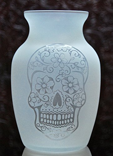 7.5 Inch Glass Etched Sugar Skull Vase - Design 2