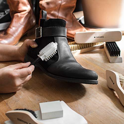 Navaris Set brosses à chaussures - Kit 8 outils d'entretien - 6x brosse 1x gomme 1x tissu de polissage - Nettoyage cuir… 2