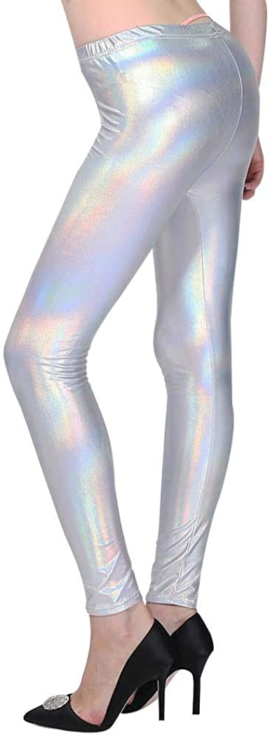 Women/'s Fluorescent Leggings Ladies Shiny High Waist Pants Stretchy Disco Dance