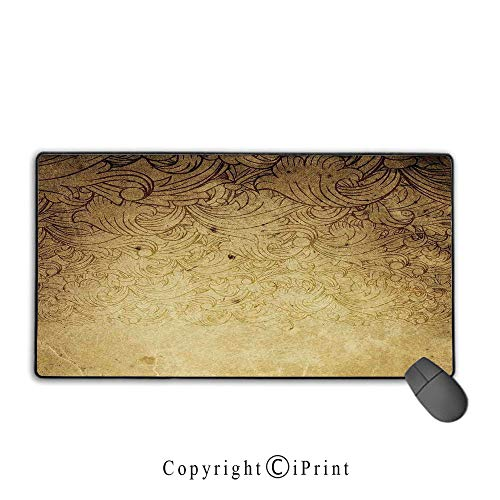 (Waterproof mouse pad,Vintage,Aged Vintage Distressed Background with Swirling Flower Figures Faded Fashioned Effects,Tan,Ideal for Desk Cover, Computer Keyboard, PC and Laptop Mouse pad with lock,15.8)