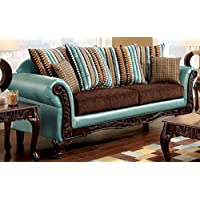 Furniture of America SM7610-SF Mulligan Fabric Furniture, Teal/Dark Brown