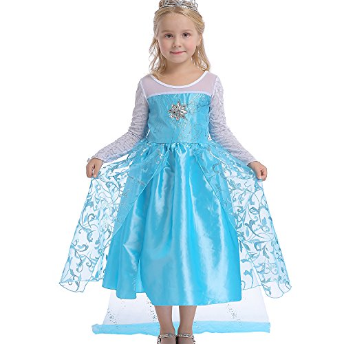 Age 4 Halloween Costume (Abroda Girls Party Outfit Butterfly Fancy Dress Snow Queen Princess Halloween Costumes Cosplay Dress (4-5 Years, LightBlue))