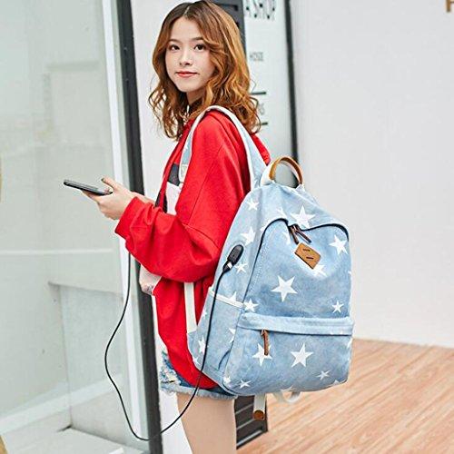 tamaño Print Impresa Lona Femenino 31 Denim 13 Estudiante Usb Recargable Blue Creativa La Del Mujeres Yu·casa Liu Mochila 44cm De 7OHqHv