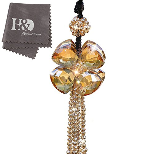 H&D Crystal Car Charms Hanging Ball Prisms Clover Ornament Car Rear View Mirror Pendant Champagne by H&D (Image #4)