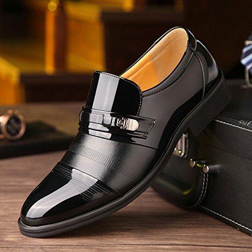 Vestido Cuero Boda Fiesta Mocasines de Negro Elegante Formal para Hombre Zapatos Oxfords Negocio para HC8qw