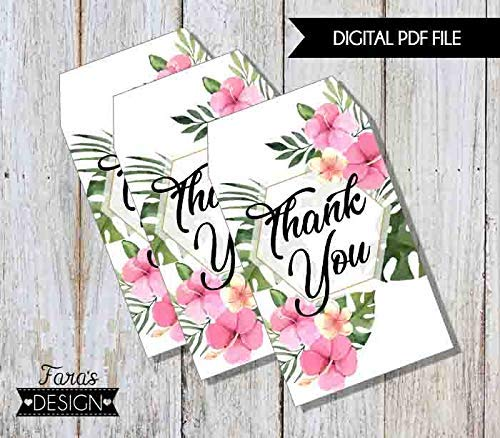 image relating to Printable Thank You Tags titled : Tropical Marriage ceremony- PRINTABLE- Thank By yourself Tags