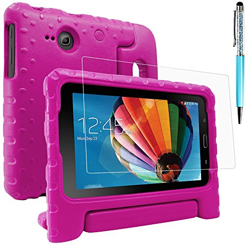 AFUNTA Protective Case Compatible Samsung Galaxy Tab E Lite 7.0 with Screen Protector and Stylus, Convertible Handle Stand EVA Case, PET Plastic Cover and Touch Pen for Tablet 7 Inch - Rose