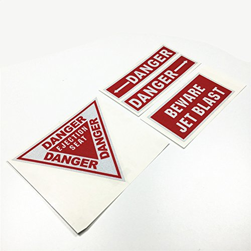 - 4PCS Warning DANGER Reflective Car Stickers BE WARE EJECTION SEAT JET BLAST Motorcycle Vinyl Decals 3M
