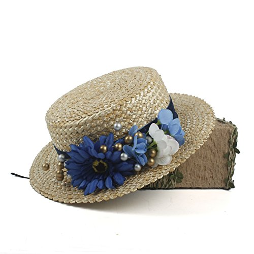 (Womens Summer Beach Hats Blue Straw Hat with Flowers Antique 1910 Edwardian Sun Protection Travel Hat (Color : Natural, Size : 56-58cm))