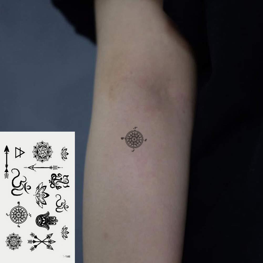 Oottati 2 Hojas Pequeño Lindo Tatuaje Temporal Tattoo Brújula Flor ...