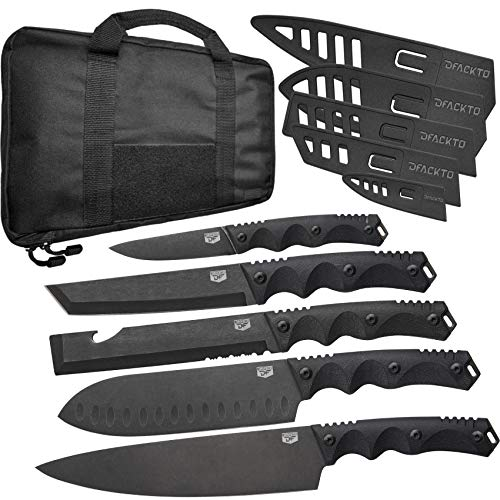 DFACKTO - 11 Piece Premium Rugged Knife Set with Sheaths and Case for Kitchen and Camping, Stonewashed High Carbon Stainless Steel Knives in Travel Kit, G10 Handles, Matte Black Cooking BBQ Utensils