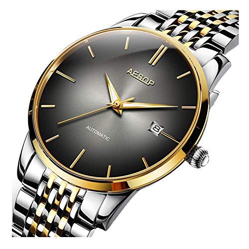Fashion Men's Mechanical Watch Luxury Brands Watches Steel Band Date Waterproof Two Tone Men Wrist Watch (Silver Gold Black) ()